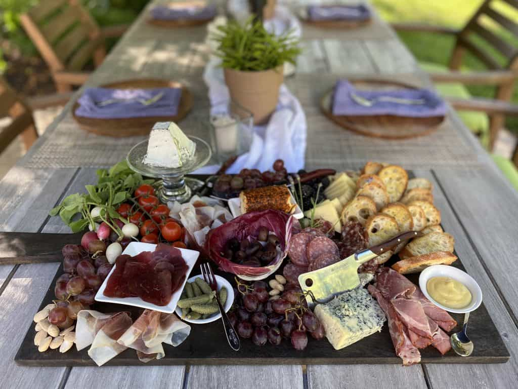 set table with grazing board