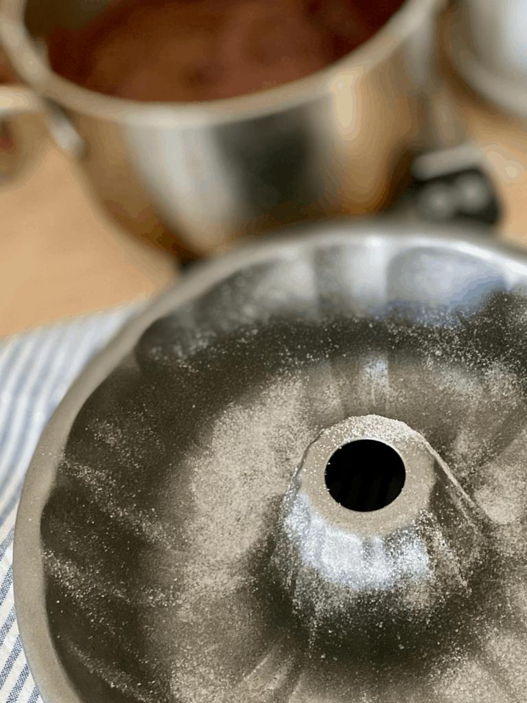 bundt pan sprinkled with sugar