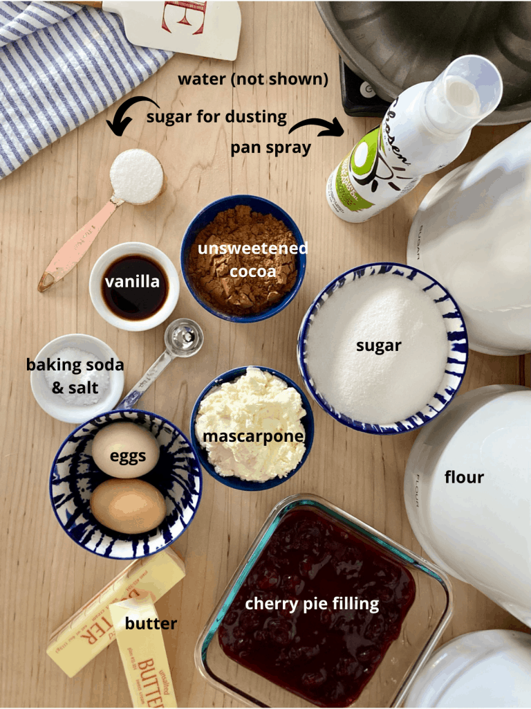 all ingredients for chocolate cherry cake recipe layed out and labeled