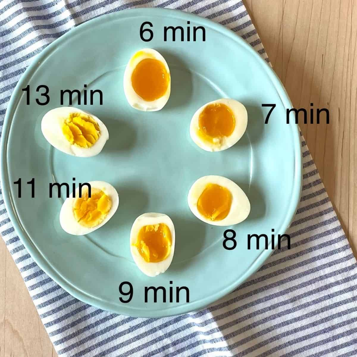 6 egg halves cooked to different doneness on blue plate