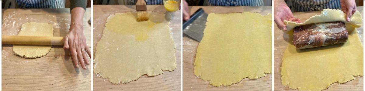 steps 1-4 of rolling dough for beef wellington