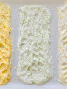 3 kinds of flavored salt spread on baking sheet