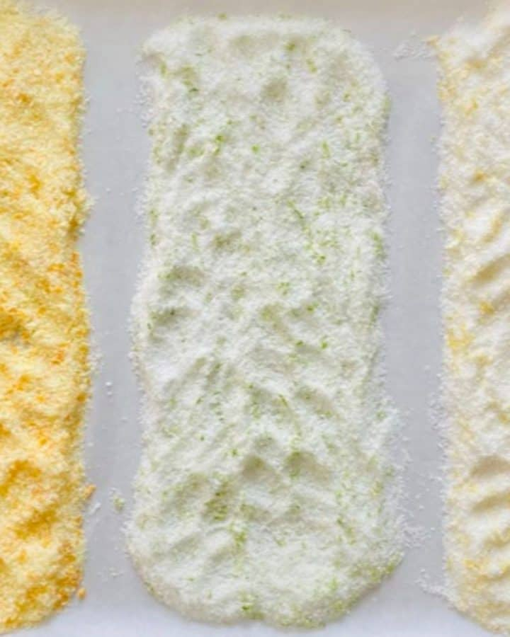 3 kinds of flavored salt spread on baking sheet