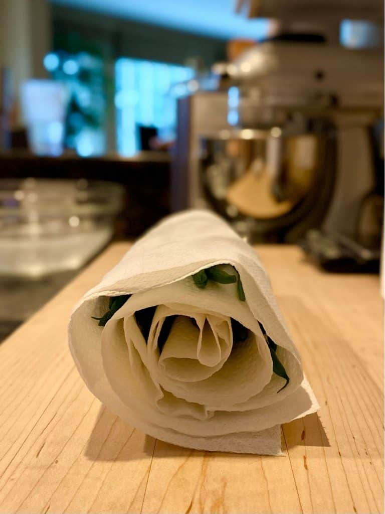 green beans rolled up in paper towel