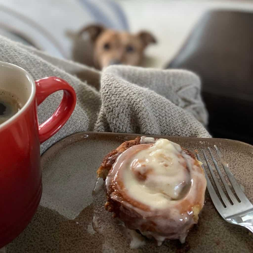 center of cinnamon roll and cup of coffee in foreground with dog watching in background