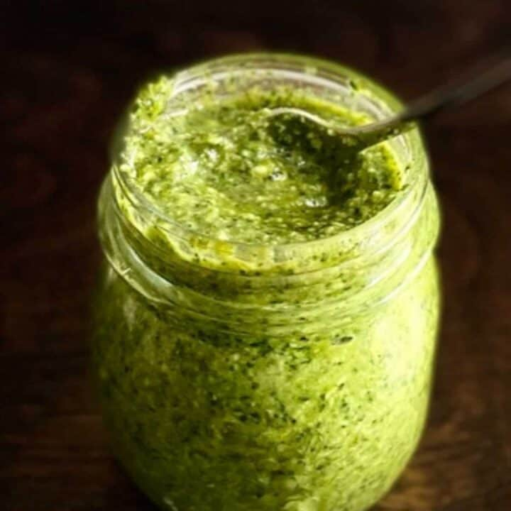 jar filled with pesto