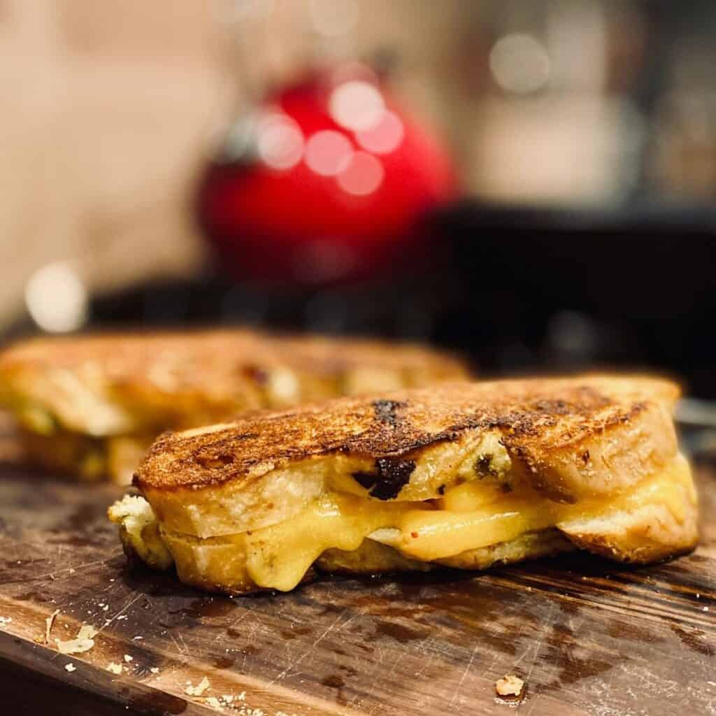 grilled cheese on cutting board
