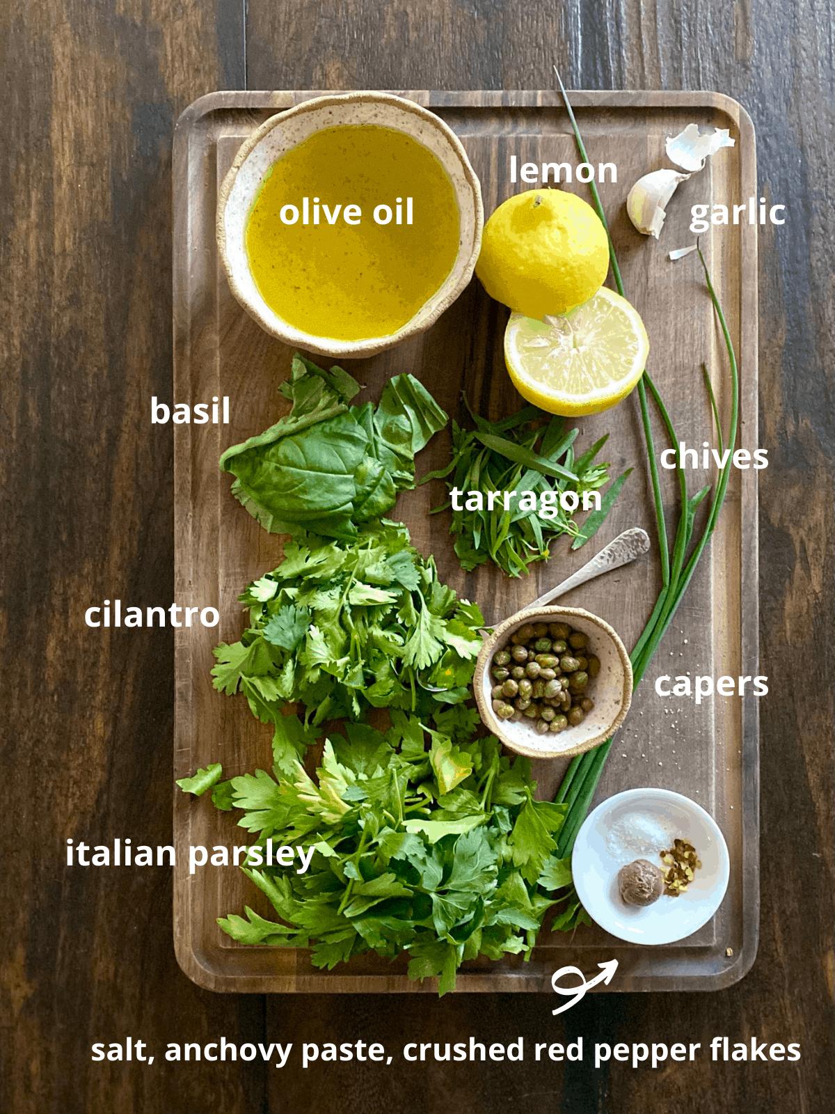 ingredients for herb salsa