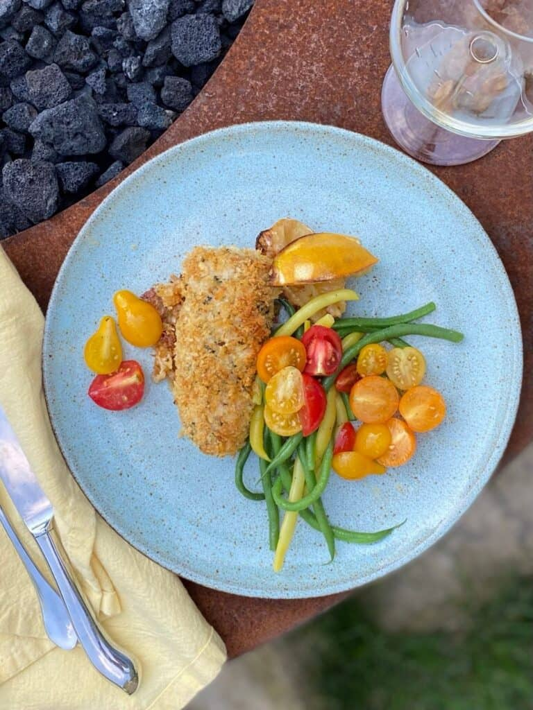 plated lemon basil rockfish with green beans and tomatoes