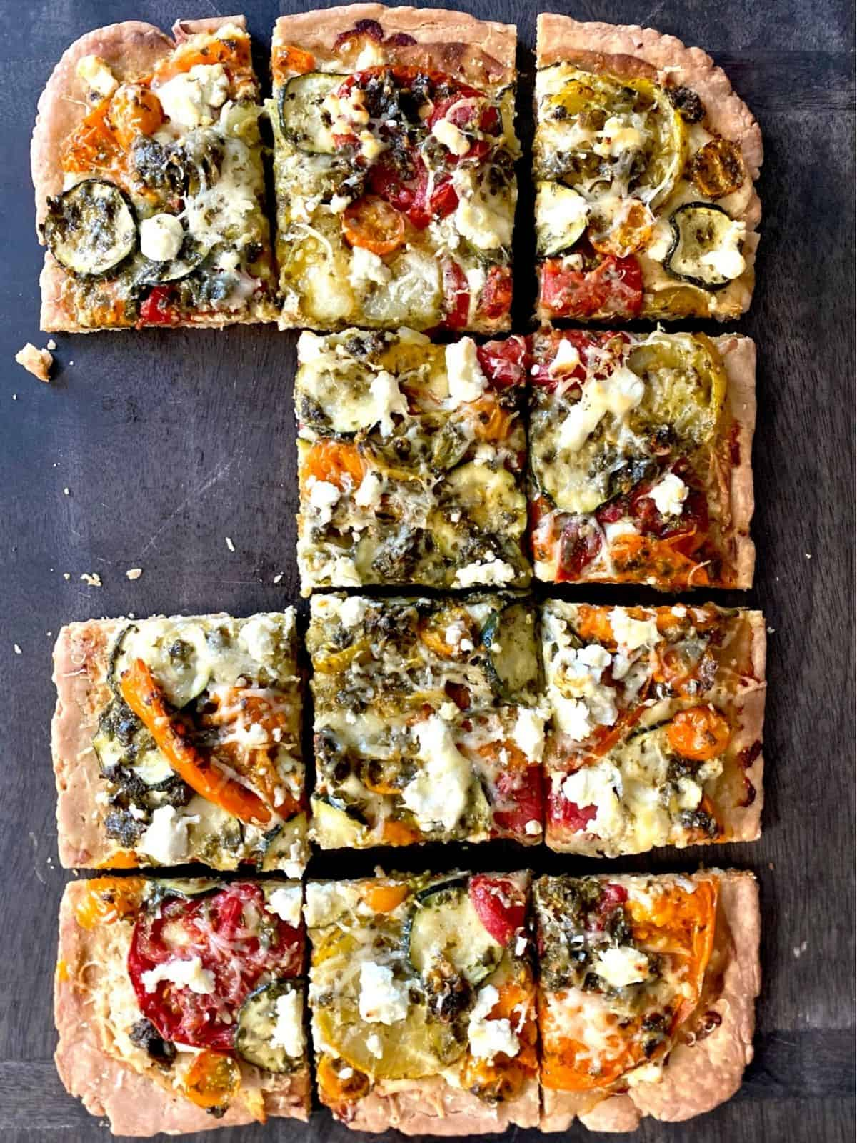 baked garden tart with piece missing