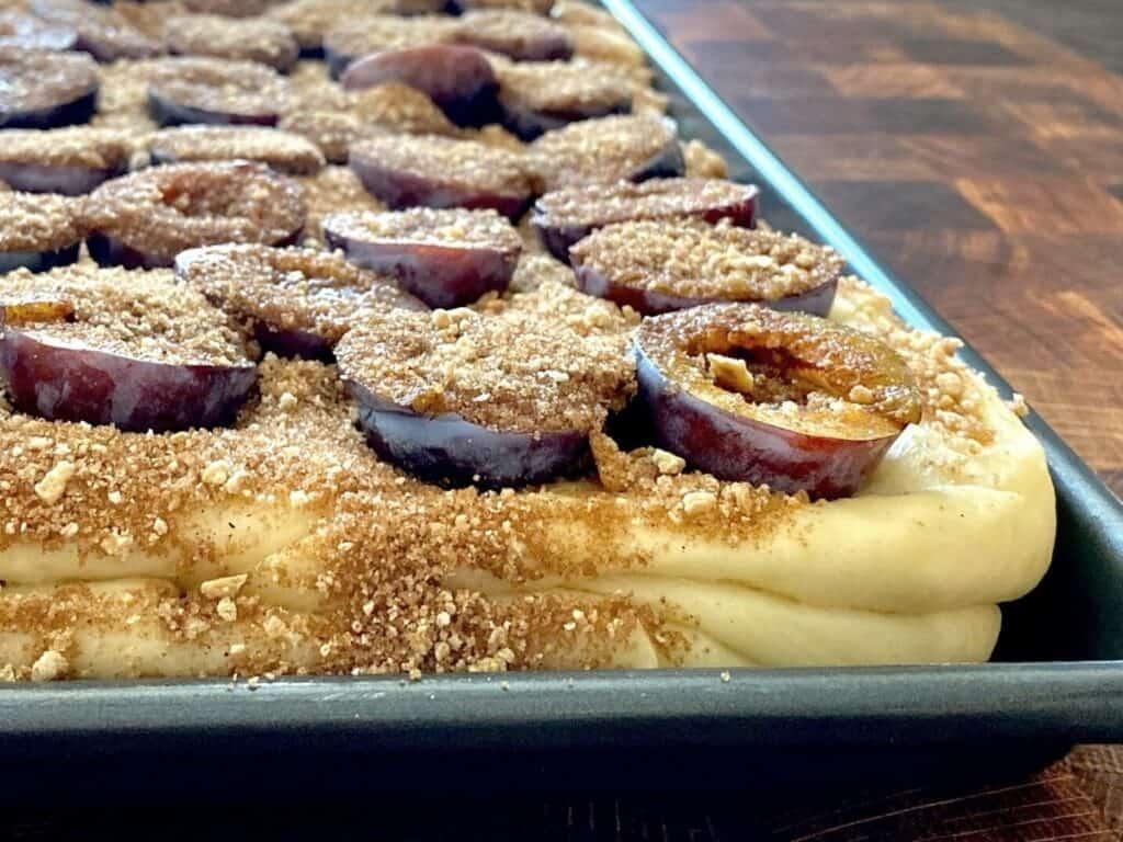italian plum kuchen ready to bake