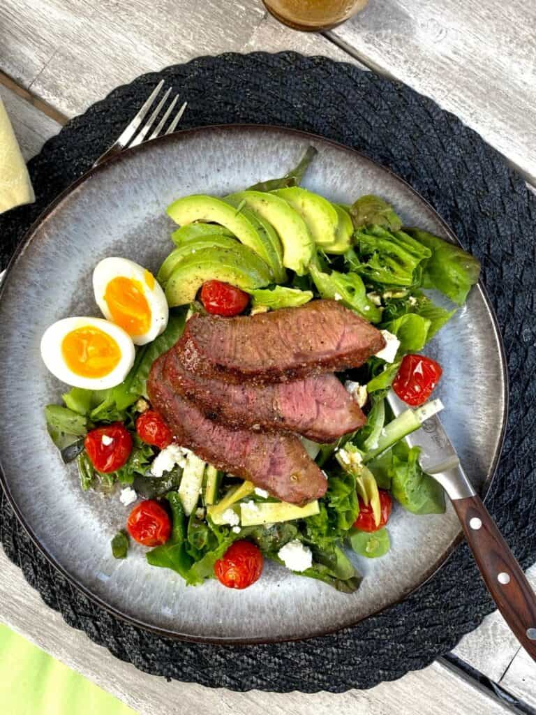 Steak salad with jammy eggs and slow roasted tomatoes